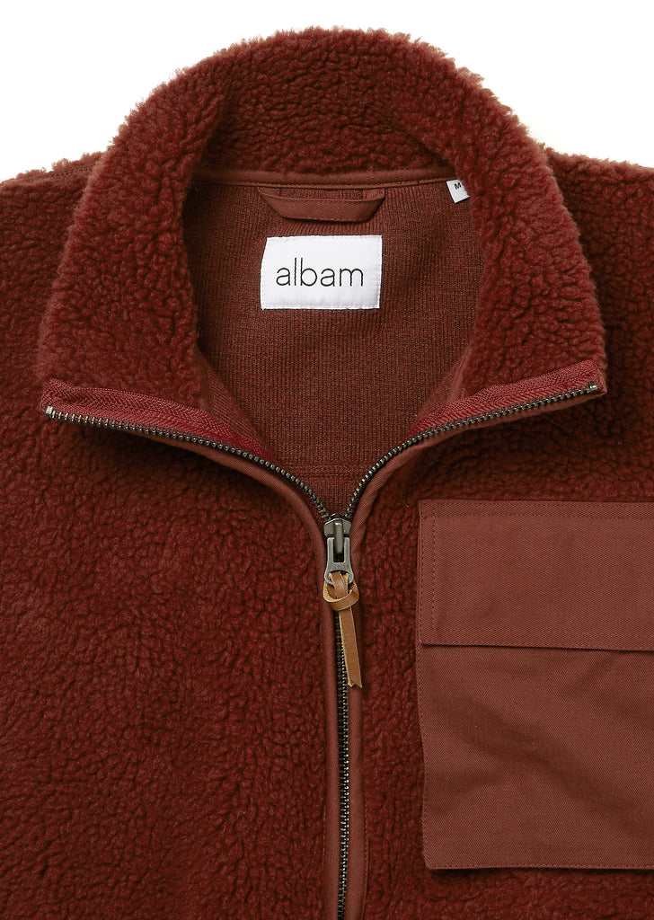 Combat Fleece Gilet in Burgundy