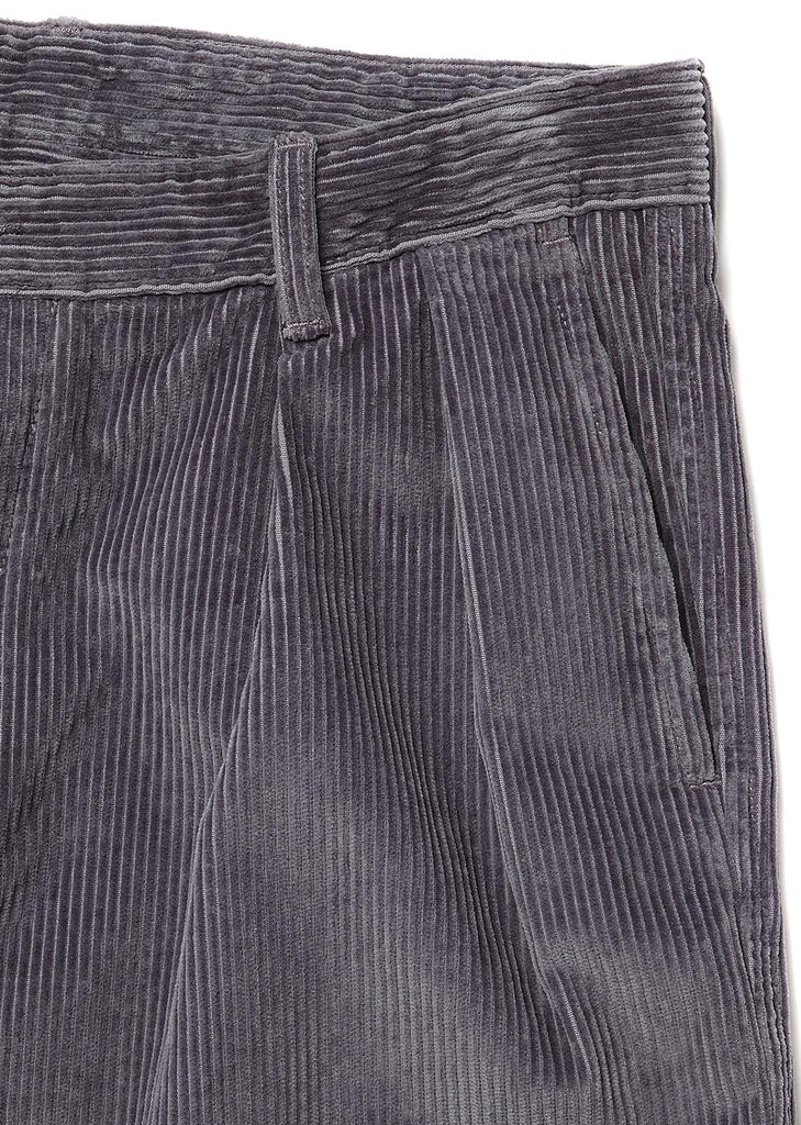 Cord Pleated Trouser in Dark Grey