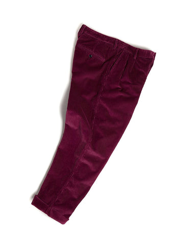 Cord Pleated Trouser in Maroon