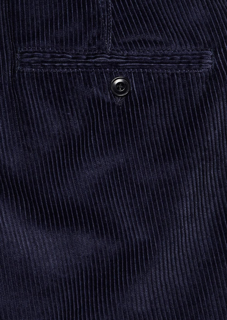 Cord Pleated Trouser in Navy