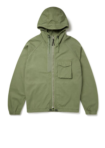 Hennek Zip Through Parka in Oil Green