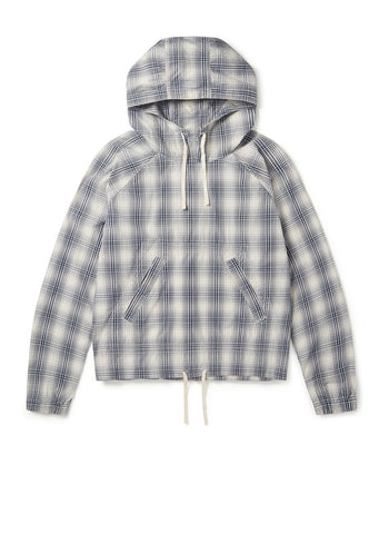 Over Dye Check Hoody in Ecru