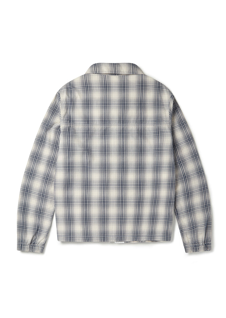 Over Dye Check Harrington in Ecru