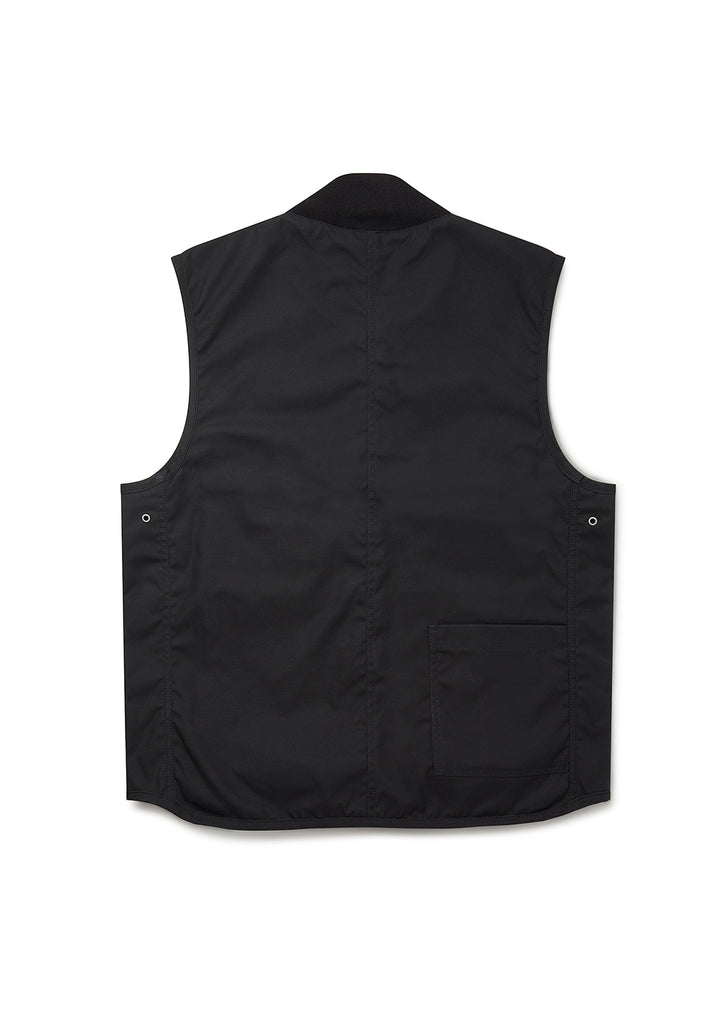 Waxed Overhall Vest in Black