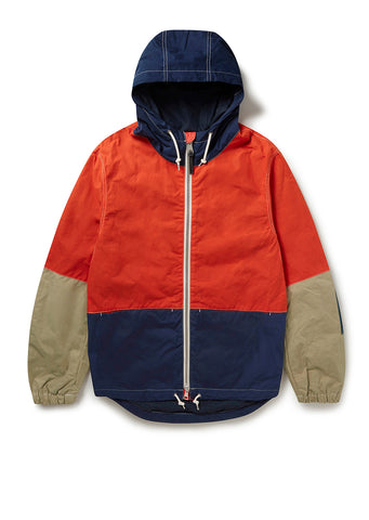 Zip Through Cagoule in Navy/Orange