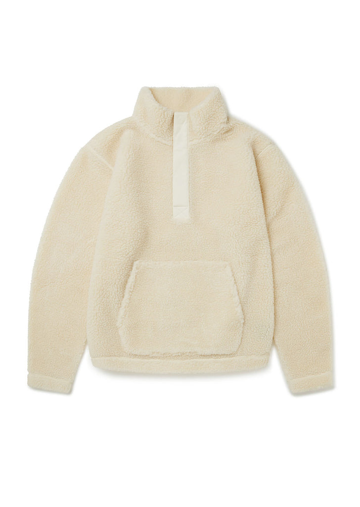 Curly Fleece Snap Neck Pullover in Ecru