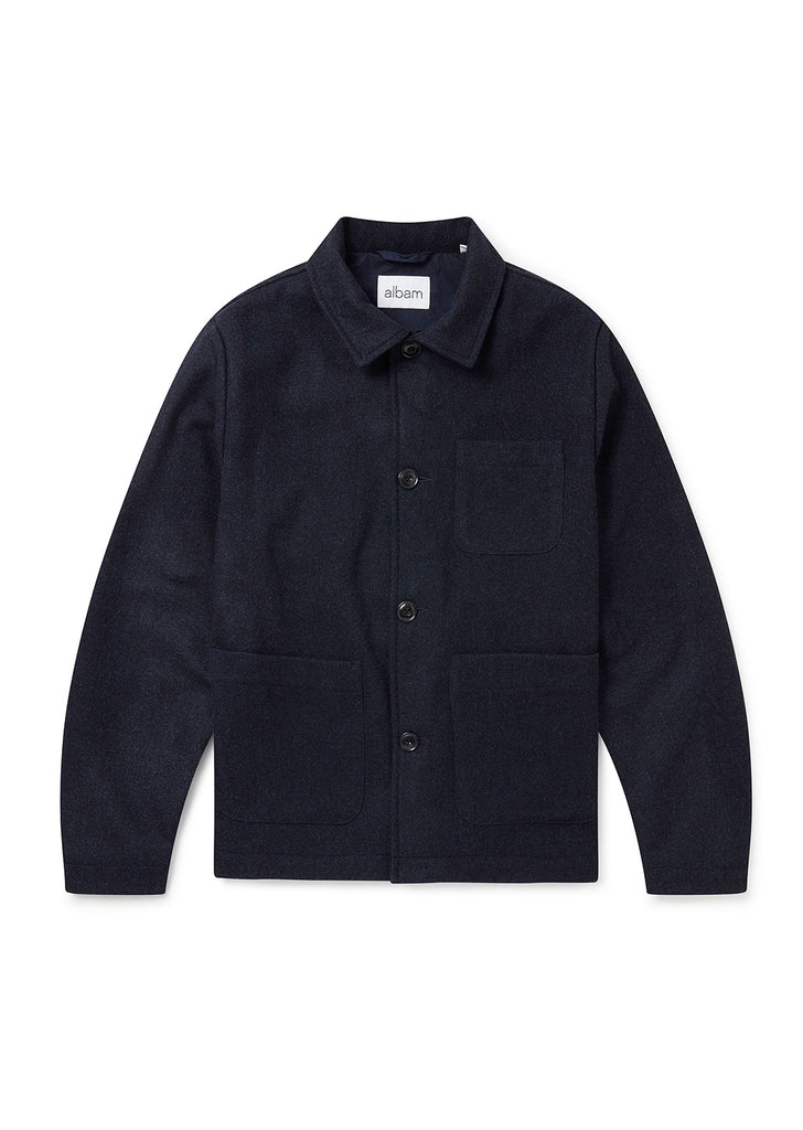 Wool Work Jacket in Navy Melange