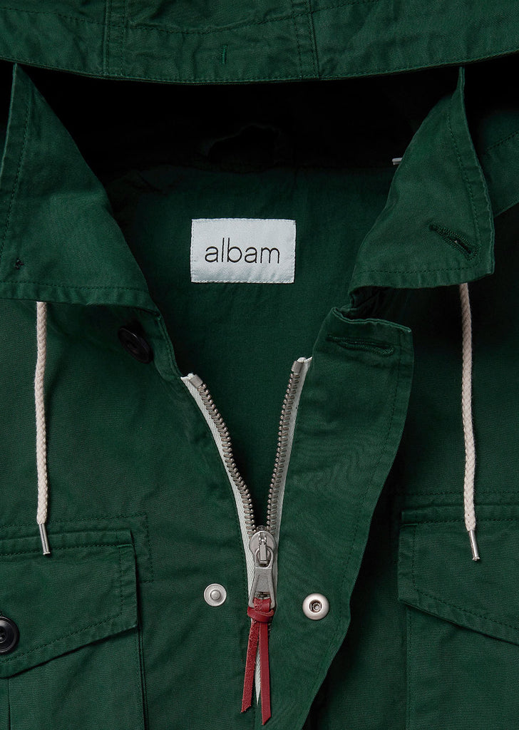Hooded Field Jacket In Bottle Green