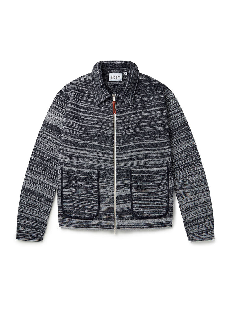 Stripe Milano Track Top in Navy Oatmeal