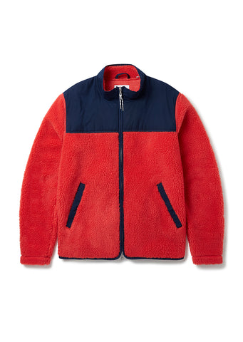 Causey Fleece Jacket in Faded Scarlett