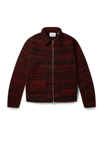 Stripe Milano Track Top in Black Red
