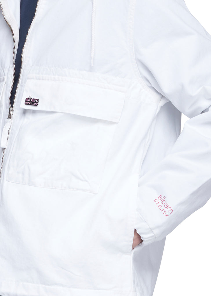 Utility Twill Cagoule in White