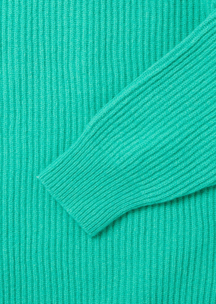 Seamless Ribbed Crew in Aquamarine