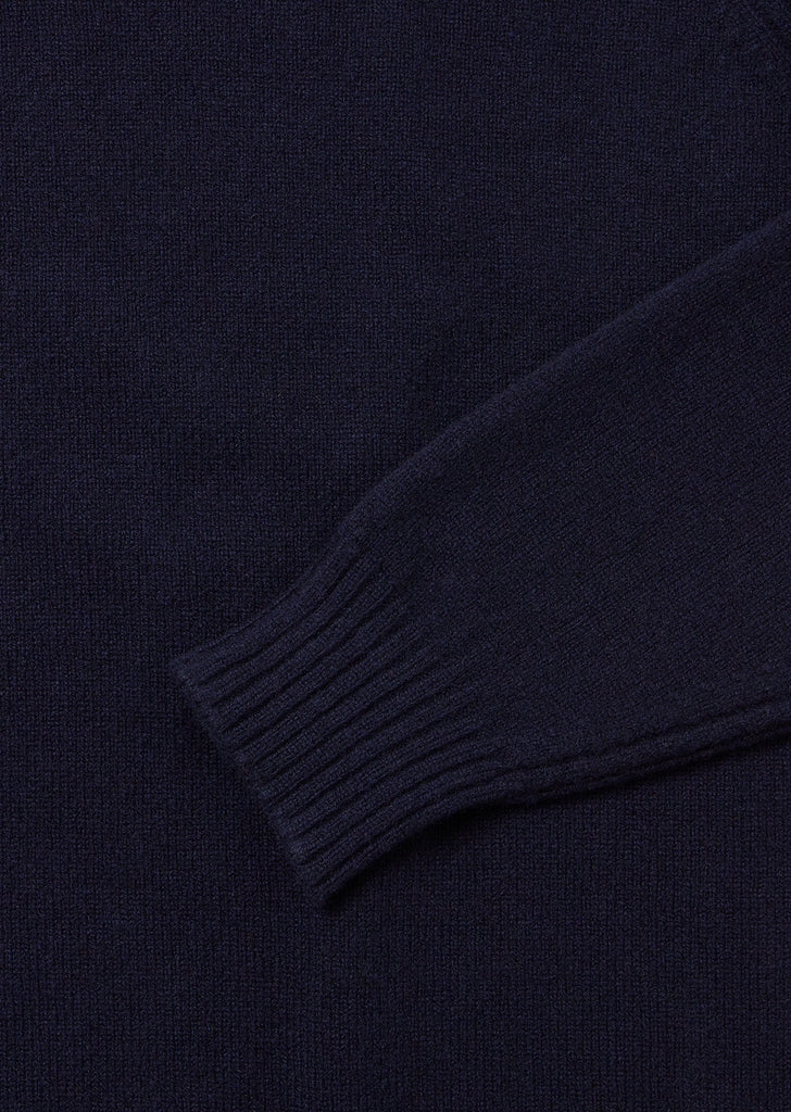 Rib Detail High Crew Neck in Navy