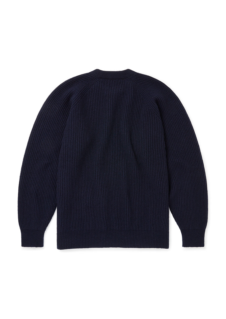 Seamless Ribbed Crew in Navy