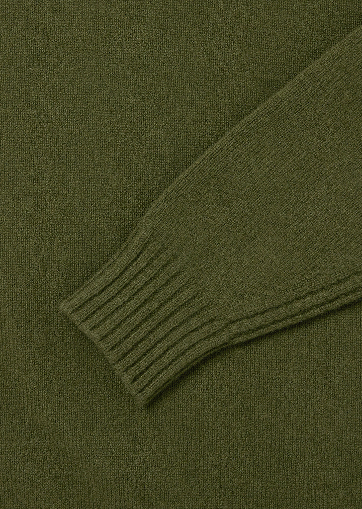 Rib Detail High Crew Neck in Green