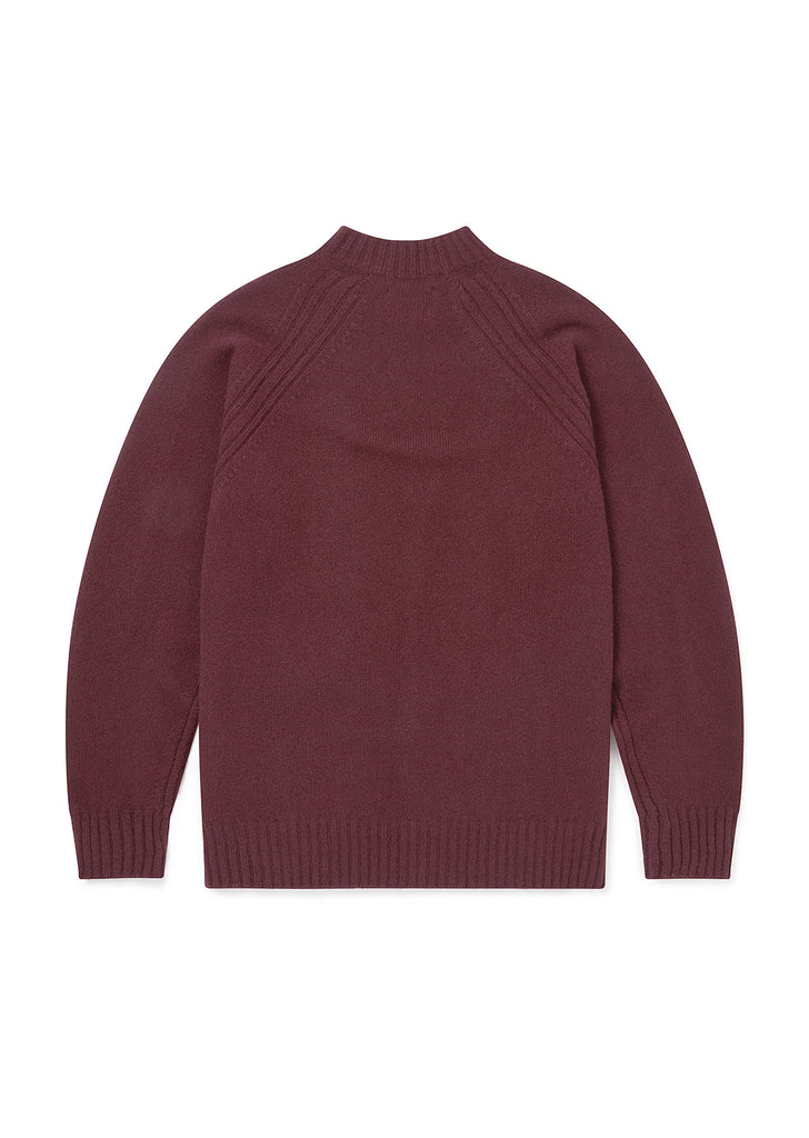 Rib Detail High Crew Neck in Burgundy