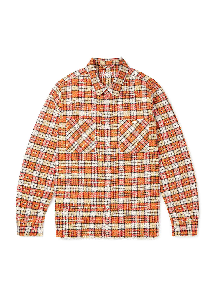 Utility Factory Check Overshirt in Orange Large Check