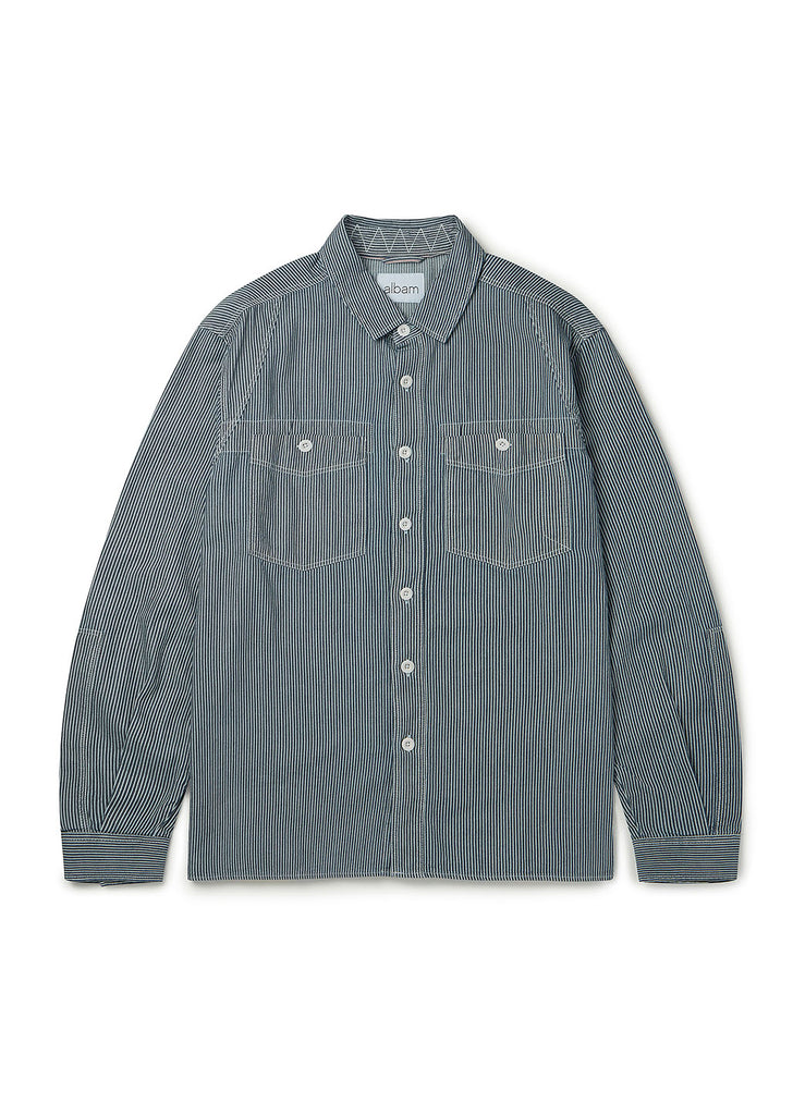 Carpenters Work Shirt in Indigo Stripe