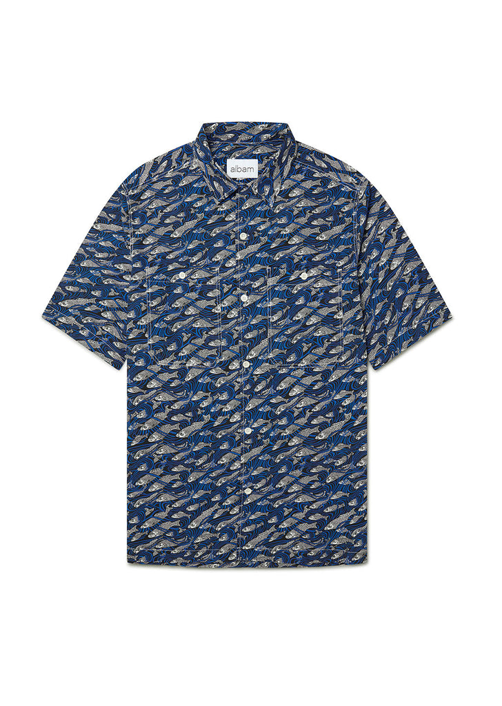 Revere Collar Shirt in Liberty Fish Blue