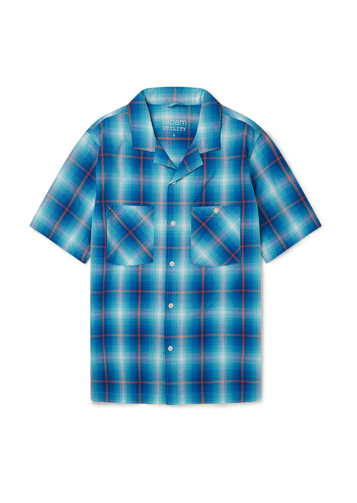 Utility Check SS Shirt in Teal Check