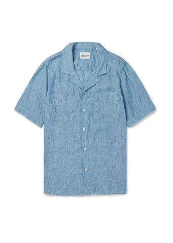 SS Revere Collar Shirt in Light Blue