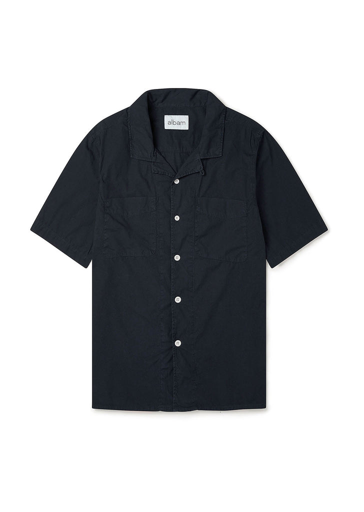 Short Sleeve Revere Collar Shirt in Navy
