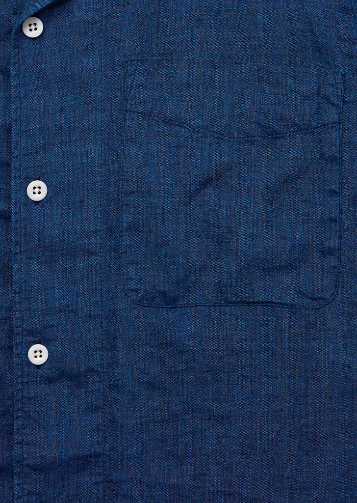 SS Revere Collar Shirt in Indigo