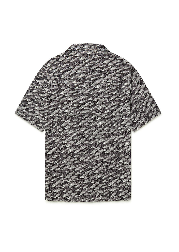 Revere Collar Shirt in Liberty Fish Grey