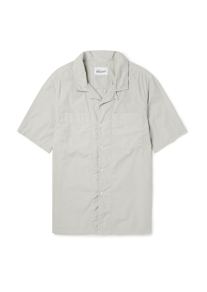 Short Sleeve Revere Collar Shirt in Stone Grey
