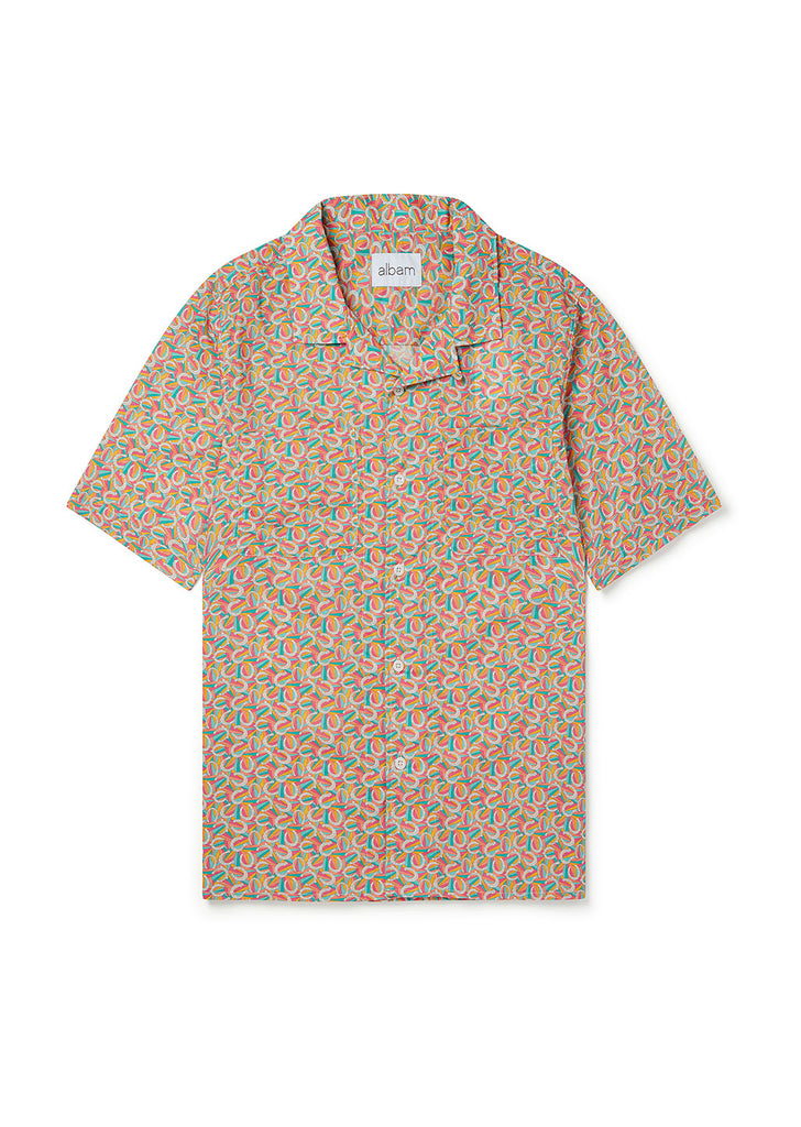 Short Sleeve Revere Collar Shirt in Pink Horseshoes