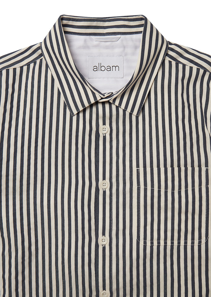 Hockney Shirt in Navy White Small Stripe