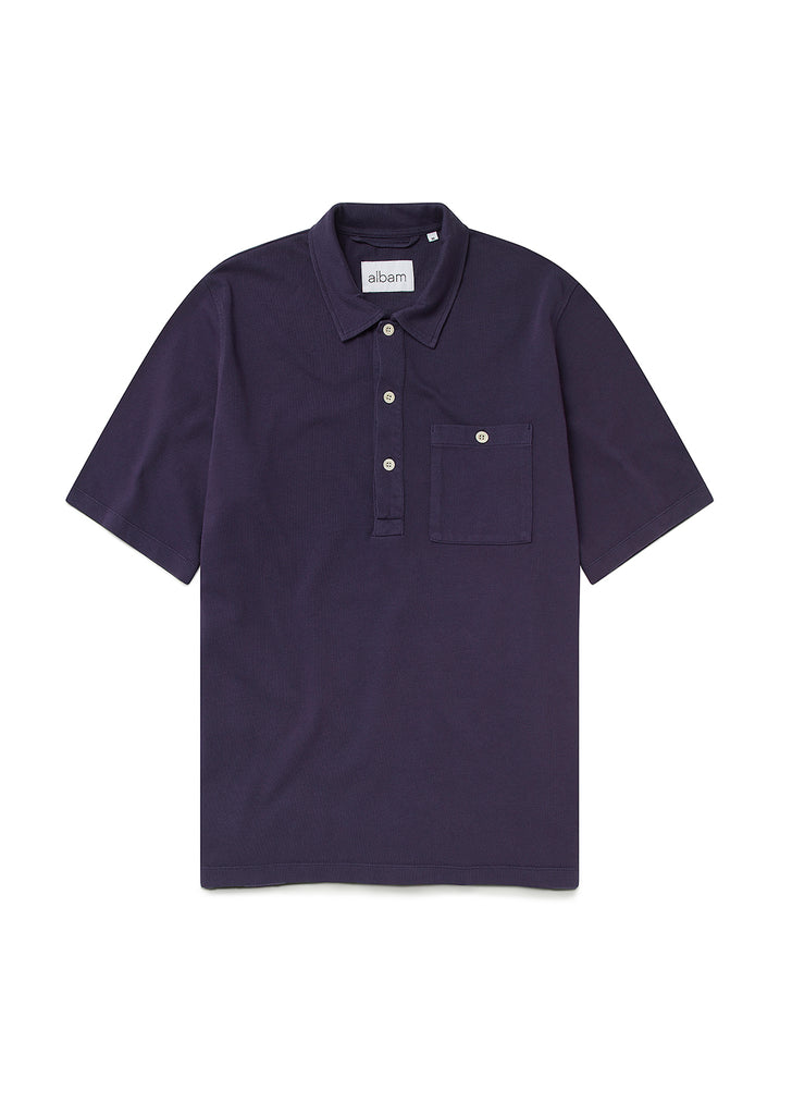 Cotton Pullover Shirt in Rich Navy