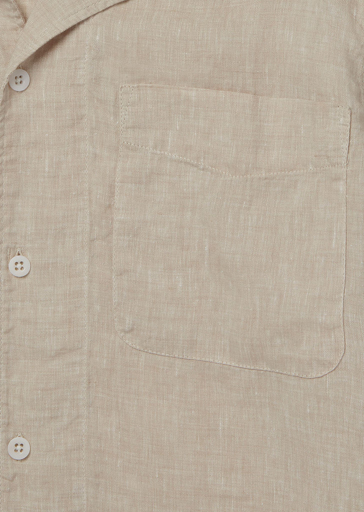 SS Revere Collar Shirt in Oatmeal