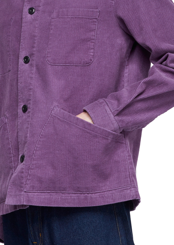 Utility Cord Overshirt in Purple