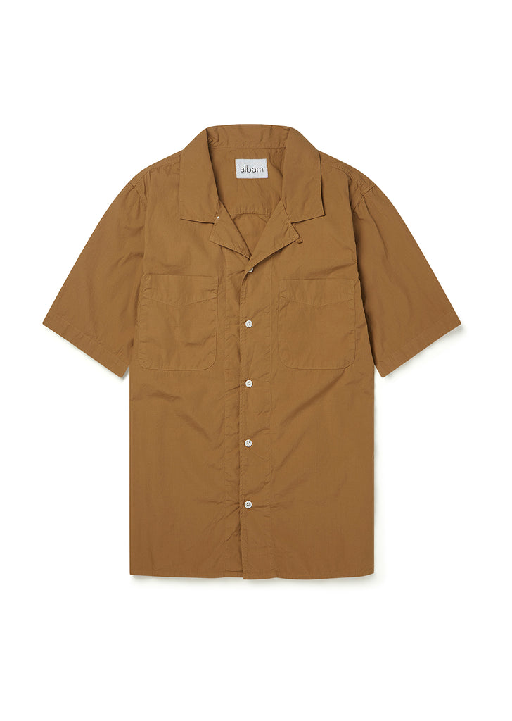 SS Revere Collar Shirt in Tobacco