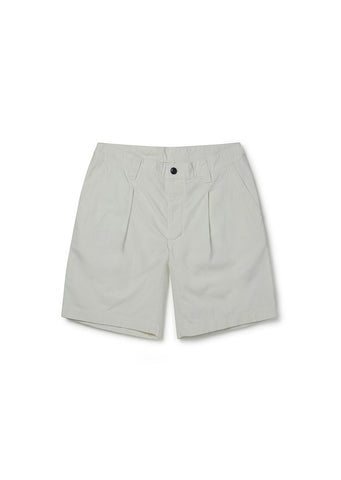 Gd Ripstop Pleated Short in Ecru