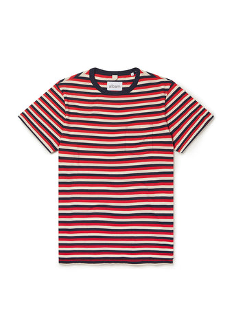 Classic Stripe SS Tee in Red/Tan/Navy