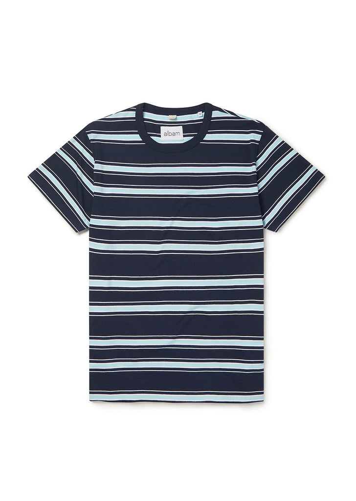 Heritage Stripe SS Tee in Navy/Light Blue/White
