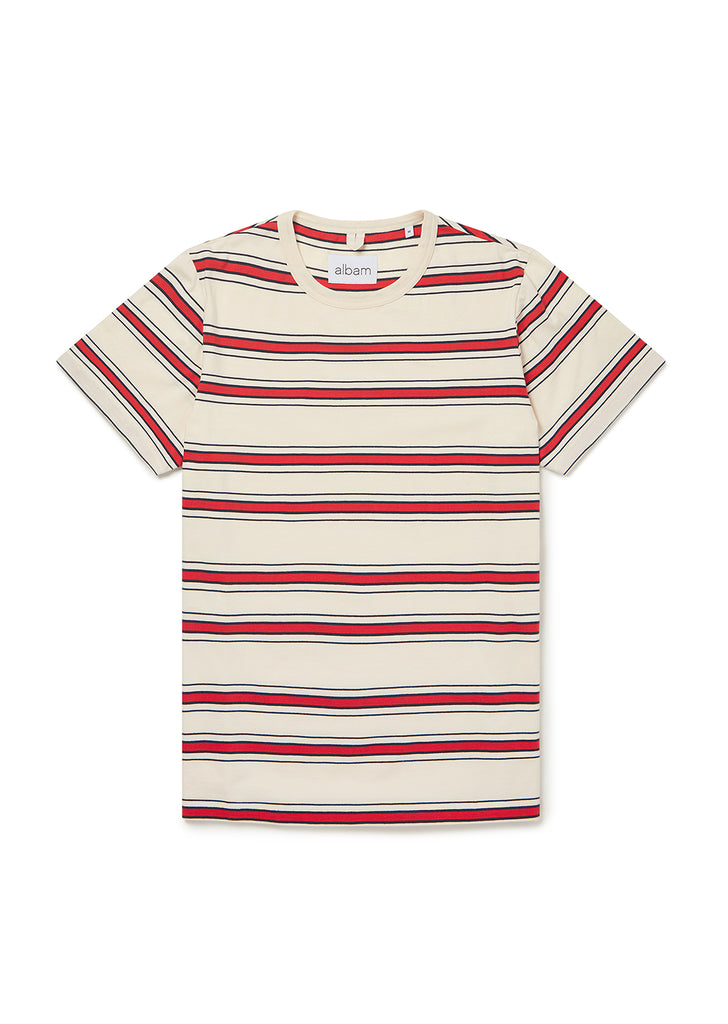 Heritage Stripe SS Tee in Red/Tan/Navy