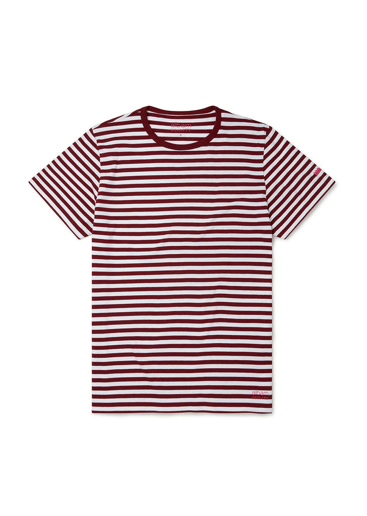 Utility Engineered Stripe T-Shirt in Burgundy/White