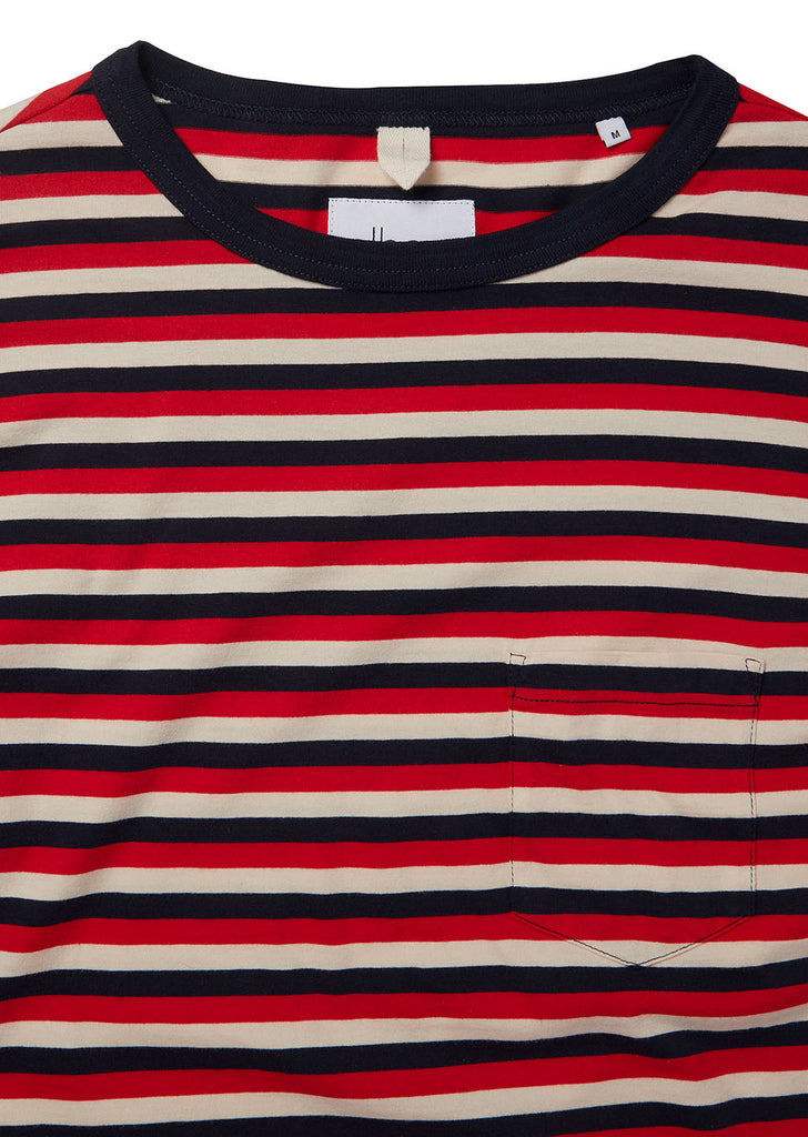 Classic Stripe LS Tee in Red/Tan/Navy