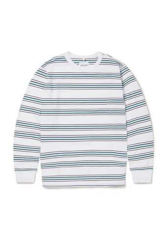 Heritage Stripe LS Tee in White/Light Blue
