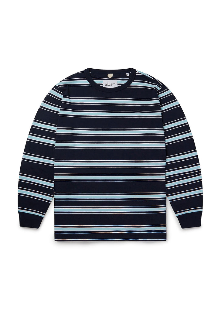 Heritage Stripe LS Tee in Navy/Light Blue