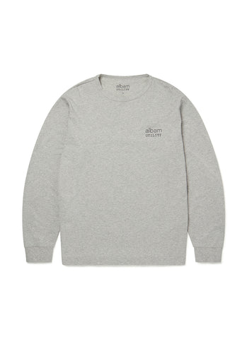 Utility Long Sleeve Graphic T-Shirt in Grey Marl
