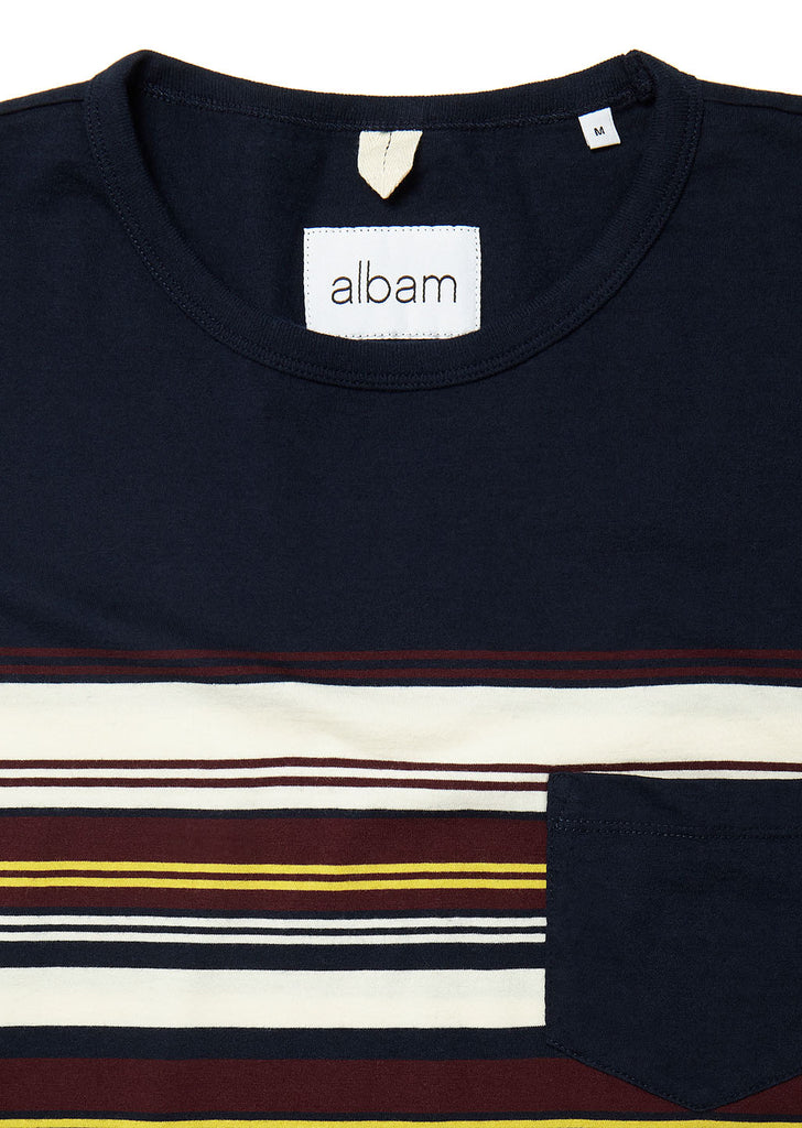 Buren Stripe T-Shirt in Navy