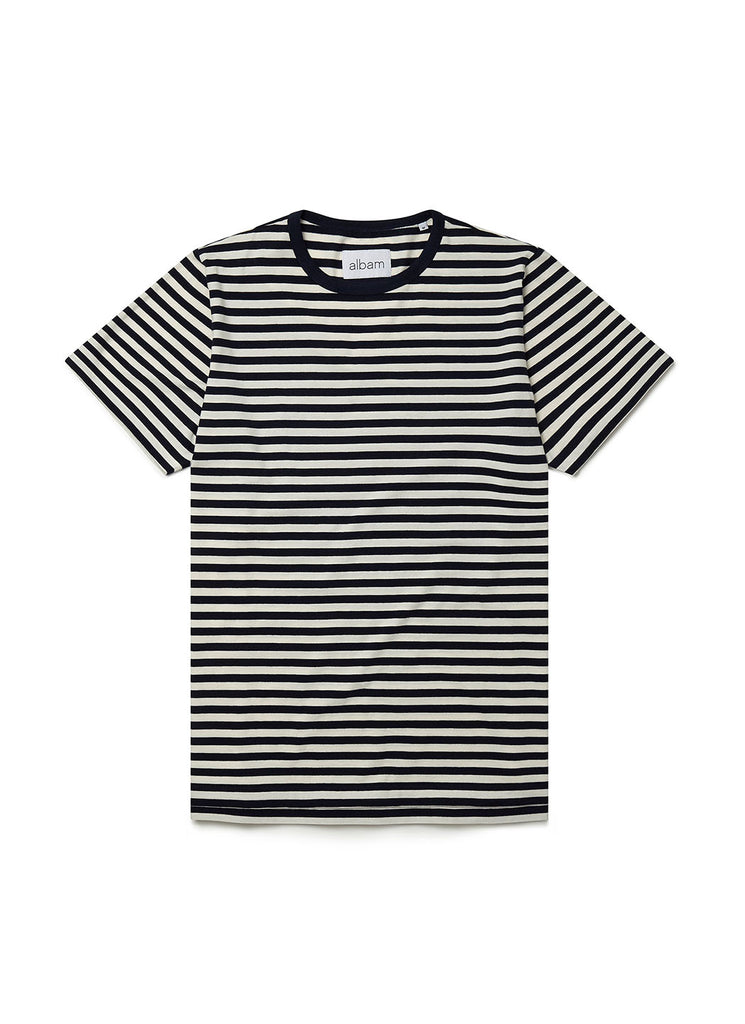 Fletcher Stripe T-Shirt in Navy Ecru