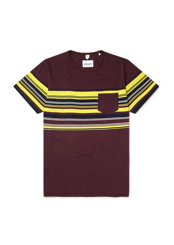 Buren Stripe T-Shirt in Port