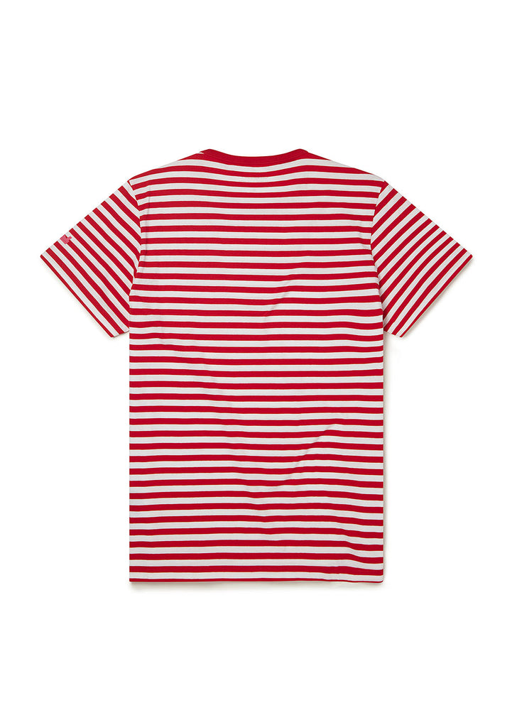 Utility Engineered Stripe T-Shirt in Berry/White
