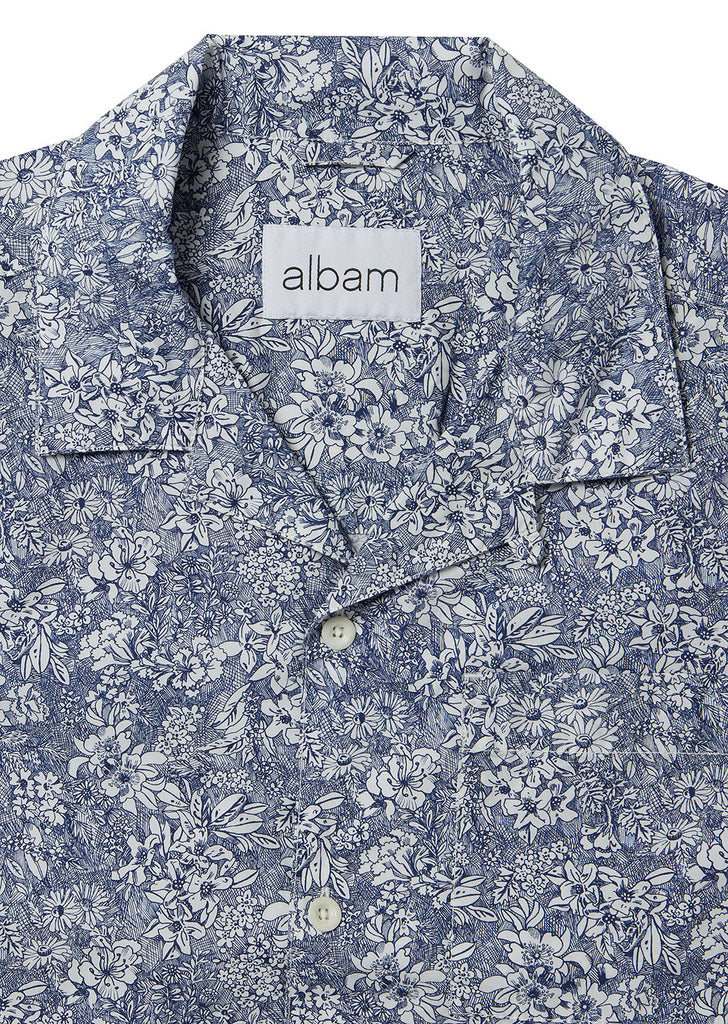 Thompson Print Shirt in Navy